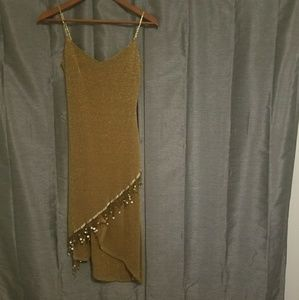 **Halloween** womens glitter gold dress